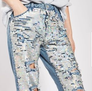 Hard to find Sequin covered Moto denim capri jeans